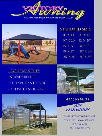 standard Sizes - Victory Awning