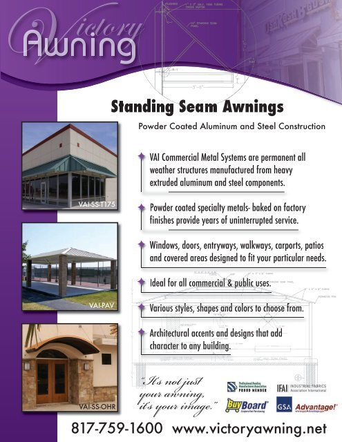 Standing Seam Awnings - Victory Awning