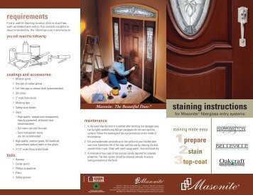 Fiberglass Staining Instructions - Masonite