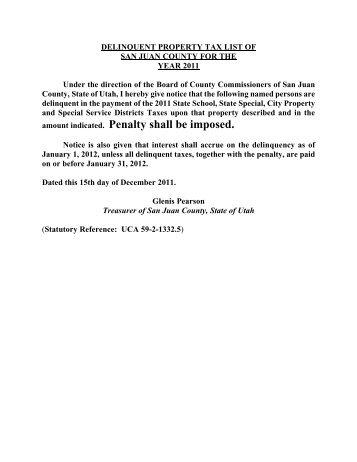 Delinquent Taxes - San Juan County