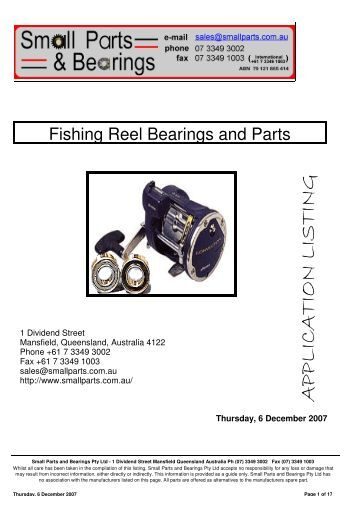 Fishing Reel Bearings and Parts Shimano - Small Parts and Bearings
