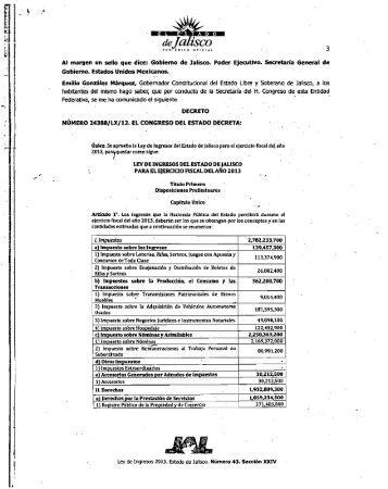 Ley de Ingresos del Estado de Jalisco para el Ejercicio Fiscal del ...
