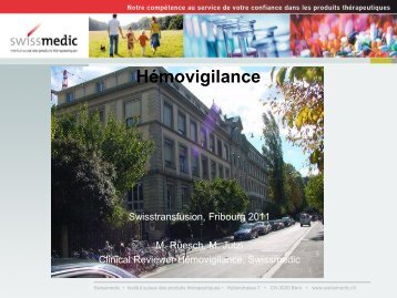 Hémovigilance - Swisstransfusion