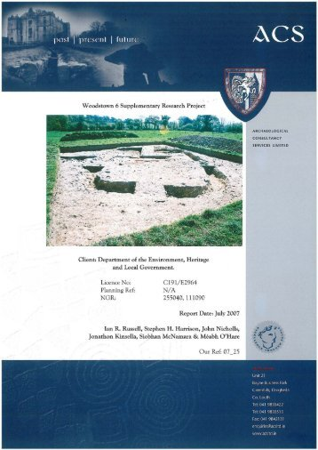 Final Report of the Woodstown Working Group Appendix 1