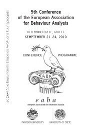 5th Conference of the European Association for Behaviour Analysis ...