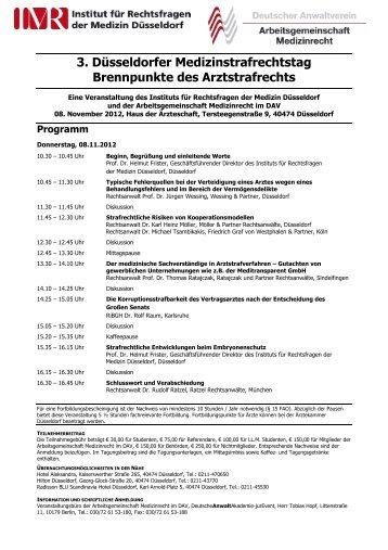 Programm - Institut für Rechtsfragen der Medizin