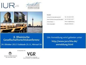 8. Rheinische Gesellschaftsrechtskonferenz - Institut für ...
