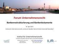 Forum Unternehmensrecht - Heinrich-Heine-Universität Düsseldorf