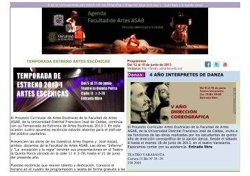 Agenda Cultural ASAB del 12 al 17 de junio.pdf - Facultad de Artes ...
