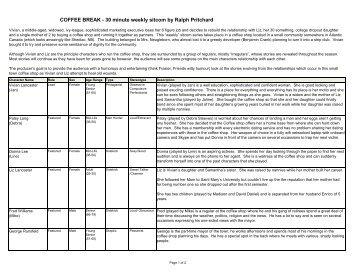 COFFEE BREAK - 30 minute weekly sitcom by Ralph ... - Reelfilms