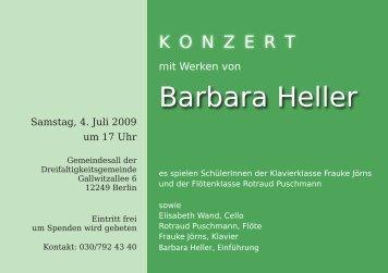 Konzert mit Werken von Barbara Heller