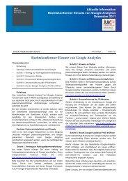 Dezember 2011 IT-Sonderticker: Google Analytics - SKW Schwarz