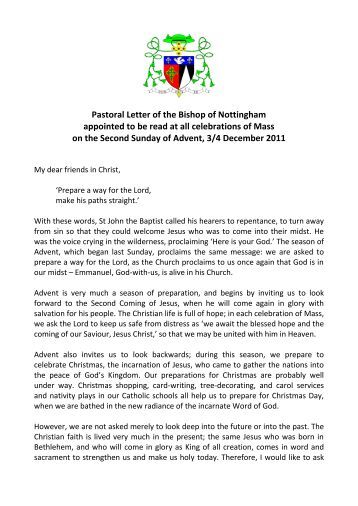 Pastoral Letter of the Bishop of Nottingham appointed to be read at ...