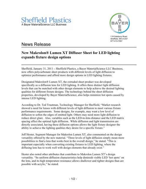 new makrolon® lumen xt diffuser sheet for led     - Sheffield Plastics