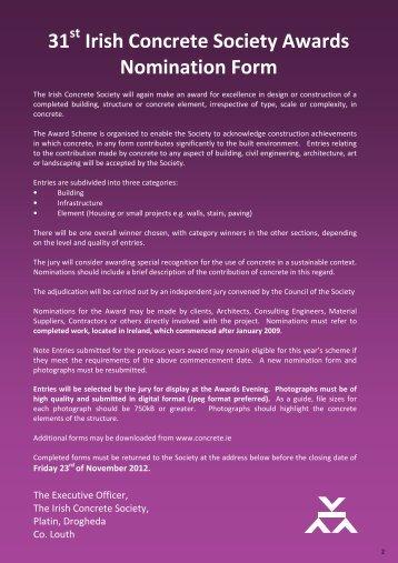 31 Irish Concrete Society Awards Nomination Form