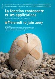 La fonction contenante et ses applications Mercredi 10 juin 2009
