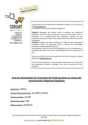 2007-Essai mécanisation extract huile palme Togo - Codéart