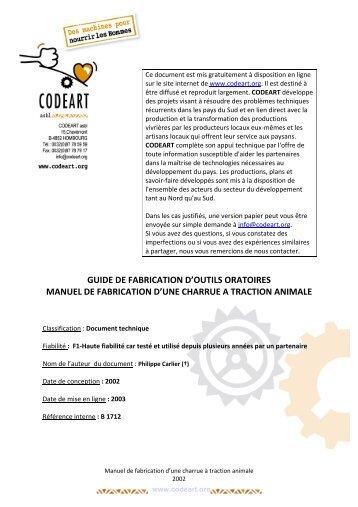 Guide de fabrication d'une charrue à traction animale - Codéart