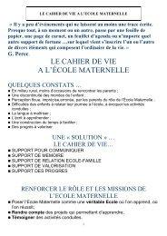 LE CAHIER DE VIE A L'ÉCOLE MATERNELLE - Www5.ac-lille.fr