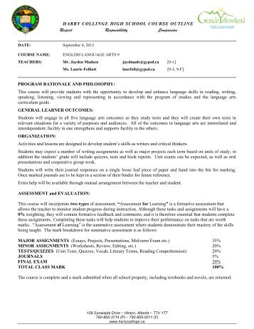 ELA 9 Course Outline 2012-2013.pdf - Harry Collinge High School