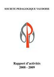 AD 09 / Rapport d'activités - Société pédagogique vaudoise
