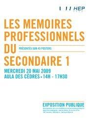 une présentation des mémoires professionnels des étudiants du ...