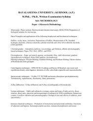 Microbiology & Cell and Molecular Biology - Rayalaseema University