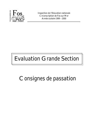 Evaluation Grande Section Consignes de passation - Brest 6
