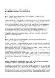 Storia del giornalismo e della comunicazione Prof. Giovanni Gozzini ...