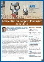 L'Essentiel du Rapport Financier 2010-2011 - SEL