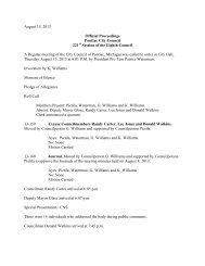 August 15, 2013 Official Proceedings Pontiac City ... - City of Pontiac