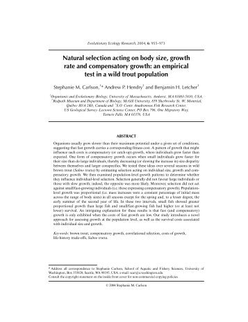 Natural selection acting on body size, growth rate ... - McGill University