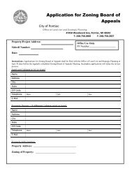 Application for Zoning Board of Appeals - City of Pontiac