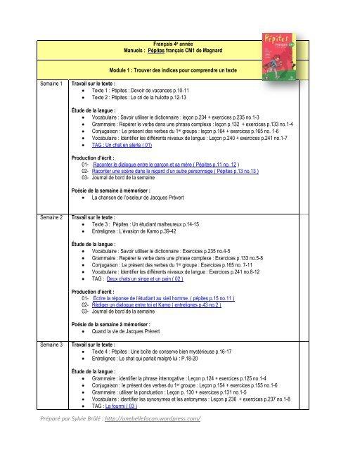 Planification Frana Ais 4e Anna C E WordPress Com