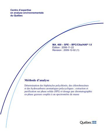 MA. 400 - SPE - BPC/Clbz/HAP 1.0 - Centre d'expertise en analyse ...