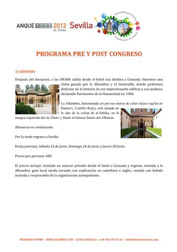 PROGRAMA PRE Y POST CONGRESO - ANQUE ICCE 2012