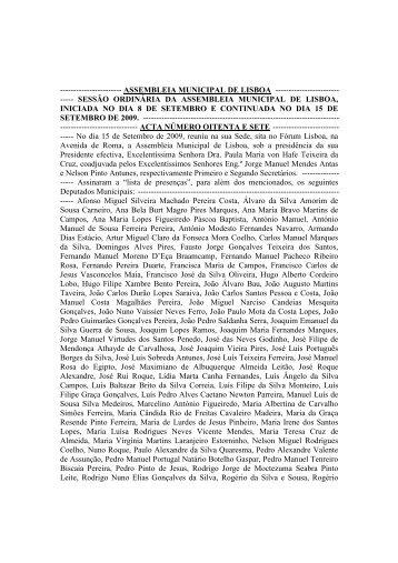 Acta 87 - Programa Local de Habitação - Câmara Municipal de Lisboa