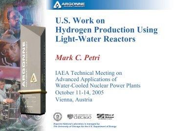 U.S. Work on Hydrogen Production Using Light-Water Reactors