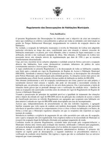 Regulamento das Desocupações de Habitações Municipais anexo ...