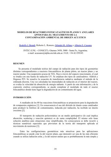 modelos de reactores fotocatalíticos planos y anulares aptos para el ...