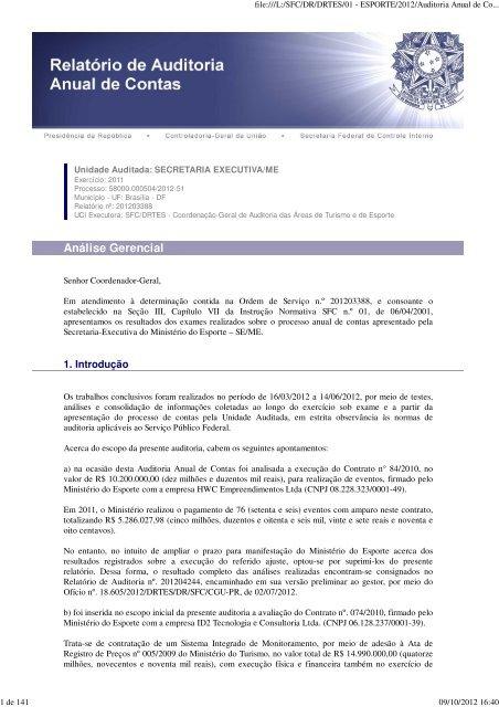 Relatório e Certificado de Auditoria e Parecer do Dirigente de ...