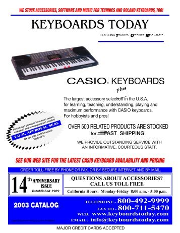 KEYBOARDS TODAY - Casio keyboard accessories and music books