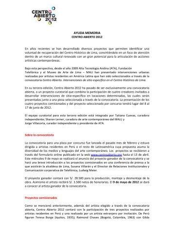 Ayuda memoria Centro Abierto 2012 - Fundación Telefónica