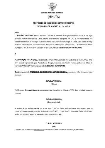 minuta do protocolo de cedência - Programa Local de Habitação