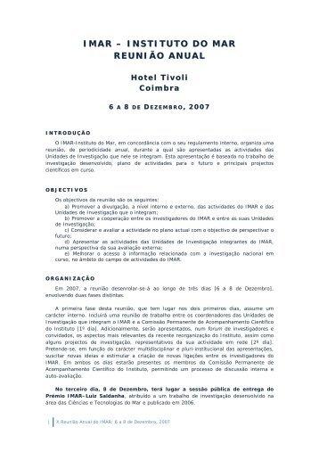 IMAR – INSTITUTO DO MAR REUNIÃO ANUAL - CIMA