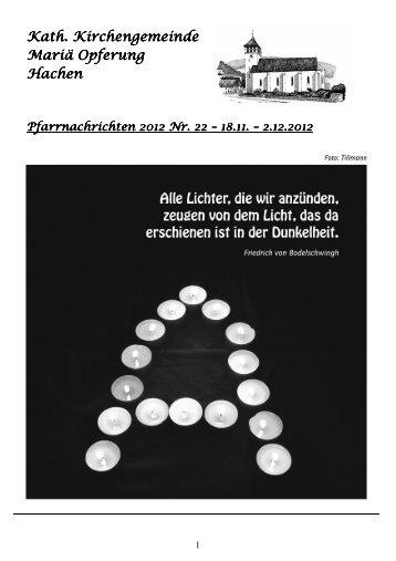 Pfarrnachrichten 2012 Nr. 22, 18.11.-2.12.2012 - KOLPING