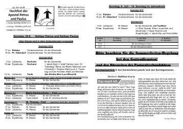 Nr 26 am 13 Sonntag - Pastoralverbund - Lübbecker Land