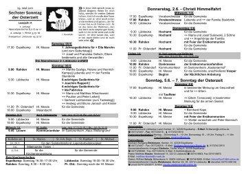 6. Sonntag der Osterzeit - Pastoralverbund - Lübbecker Land