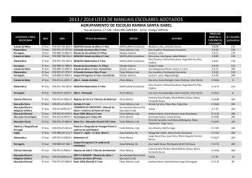 2013 / 2014 lista de manuais escolares adotados - Agrupamento de ...