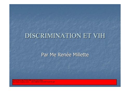DISCRIMINATION ET VIH - Portail VIH / sida du Québec